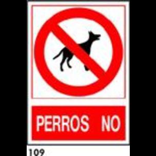 SEÑAL PVC NORM. A3 CAST. R-109 - PERROS NO