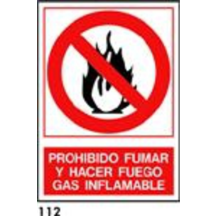 SEÑAL PVC NORM. A4 CAT. R-112 - GAS INFLAMABLE