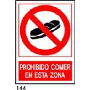 SEÑAL PVC NORM. A4 CAT. R-144 - PROHIBIT MENJAR