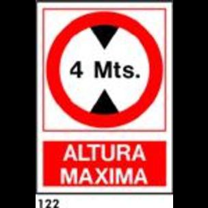 SEÑAL PVC NORM. A4 CAST. R-122 - ALTURA MAXIMA
