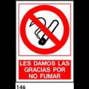 SEÑAL PVC NORM. A4 CAST. R-146 - GRACIAS NO FUMAR