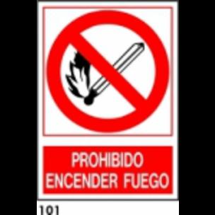 PEGATINA 9X9 R-101 - .PROHIBIDO ENCENDER FUEGO.