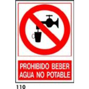 PEGATINA A4 CAT R-110 - .PROHIBIT BEURE AIGUA.