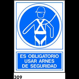 SEÑAL PVC FOTO A4 CAST. R-309 - USAR ARNES DE SEGU