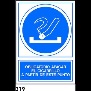 SEÑAL PVC FOTO A4 CAST. R-319 - APAGAR CIGARRILLO