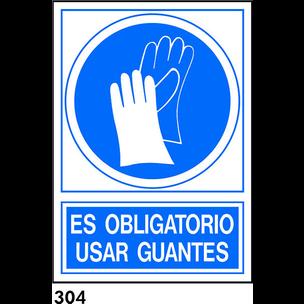 SEÑAL AL.  NORM. A4 CAT R-304 - UTILITZAR GUANTS
