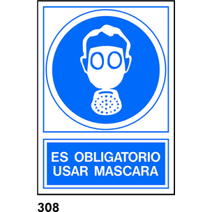 SEÑAL PVC NORM. 21X21 S/TEXTO R-308 - USAR MASCARA