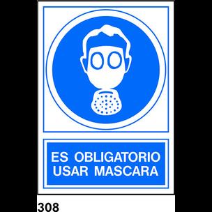 SEÑAL PVC NORM. A3 CAST. R-308 - USO DE MASCARILLA