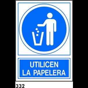 SEÑAL PVC NORM. A3 CAST. R-332 - USAR PAPELERA