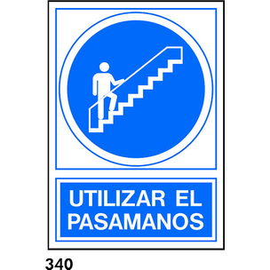 SEÑAL PVC NORM. A3 CAST. R-340 - USAR PASAMANOS