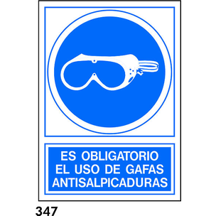 SEÑAL PVC NORM. A3 CAST. R-347 - GAFAS ANTISALPICA