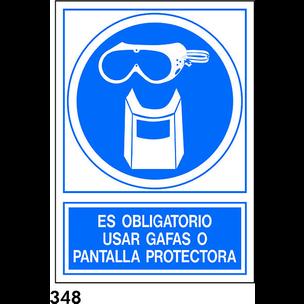 SEÑAL PVC NORM. A3 CAST. R-348 - USAR GAFAS O PANT