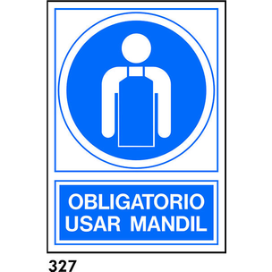 SEÑAL PVC NORM A4 CAT R-327 - UTILITZAR MANDIL