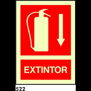 SEÑAL PVC FOTO A4 R-522 .EXTINTOR. + FLECHA A BAJO
