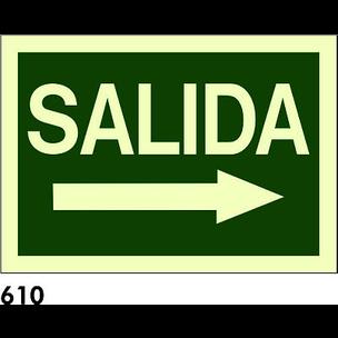 SEÑAL PVC FOTO A4 CAST. R-610 - SALIDA + FLECHA D