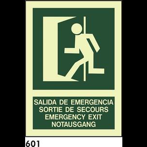 SEÑAL PVC FOTO A3 CAST R-601 - SALIDA DE EMERGENCI