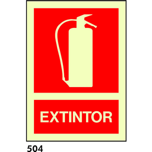 SEÑAL BANDEROLA TECHO PVC FOTO A4 R-504 - EXTINTOR