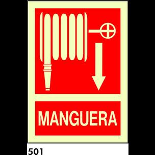 SEÑAL PVC FOTO A3 CAST  DOS CARAS R-501 .MANGUERA.