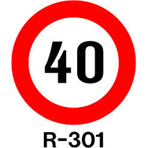 SEÑAL ECONOMICA PINTADA 50CM R-301 - LIMITE 10 -