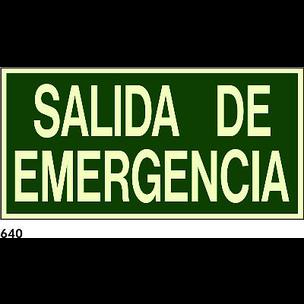 SEÑAL PVC FOTO 21X10 CAST R-640 - SALIDA DE EMERGE