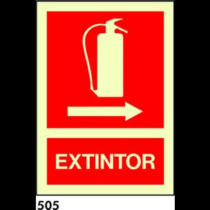 SEÑAL PVC FOTO A4 R-505 - .EXTINTOR CON FLECHA.