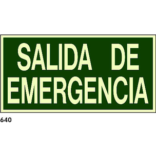 SEÑAL PVC FOTO 594X297 R-640 - SALIDA DE EMERGENCI