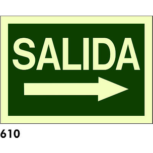 SEÑAL PVC FOTO A3 CAST R-610 -SALIDA FLECHA DERECH