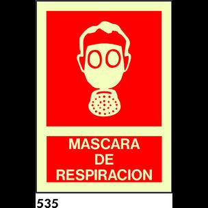 SEÑAL PVC FOTO A4 CAT R-535 - MASCARA DE RESPIRACI