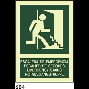 SEÑAL PVC FOTO A4 CAST R-604 - ESCALERA DE..