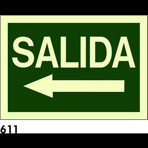SEÑAL PVC FOTO A4 CAST. R-611 - SALIDA - ECONOMICA