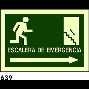 SEÑAL PVC FOTO A4 CAT R-639 - ESCALA D.EMERGENCIA
