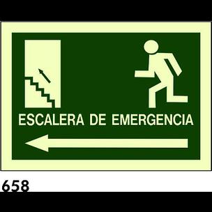 SEÑAL PVC FOTO A4 CAT R-658 - ESCALA D.EMERGENCIA