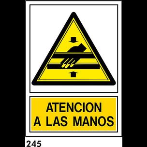 SEÑAL AL. NORM A4 CAST R-245 .ATENCION A LAS MANOS