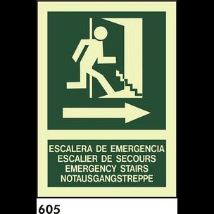 SEÑAL PVC FOTO A4 CAT R-605 - ESCALA D.EMERGENCIA