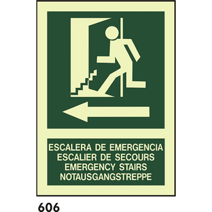 SEÑAL PVC FOTO A4 CAT R-606 - ESCALA D EMERGENCIES