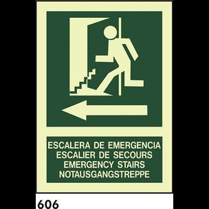 SEÑAL PVC FOTO A4 CAT R-606 - ESCALA D EMERGENCIES