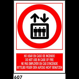 SEÑAL PVC NORM. A3 CAT. R-607 - NO UTILIT INCENDI