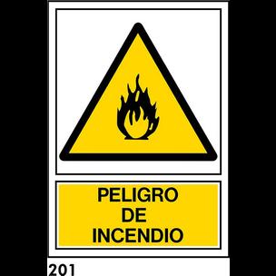 SEÑAL PVC NORM. A3 CAST. R-201 - PELIGRO INCENDIO