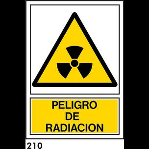 SEÑAL PVC NORM. A3 CAST. R-210 - PELIGRO RADIACION