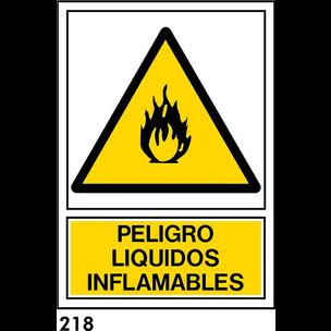 SEÑAL PVC NORM. A3 CAST. R-218 - LIQUIDO INFLAMABL