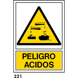 SEÑAL PVC NORM. A3 CAST. R-221 - PELIGRO ACIDOS