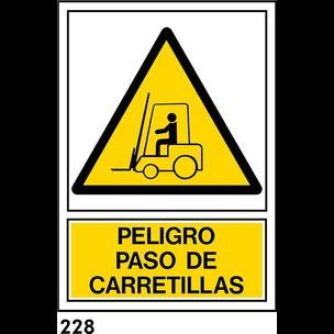 SEÑAL PVC NORM. A3 CAST. R-228 - PASO CARRETILLAS