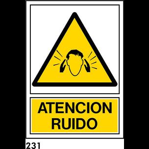 SEÑAL PVC NORM. A3 CAST. R-231 .ATENCION RUIDO.