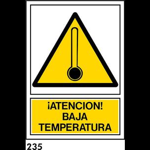 SEÑAL PVC NORM. A3 CAST. R-235 .ATENCION BAJA...