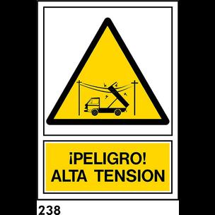 SEÑAL PVC NORM. A3 CAST. R-238 .PELIGRO ALTA TEN..