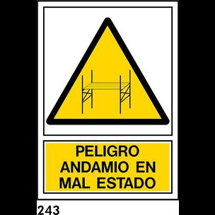 SEÑAL PVC NORM. A3 CAST. R-243 .ANDAMIO EN....