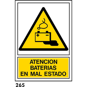 SEÑAL PVC NORM A3 CAST R-265/J954 .BATERIAS.
