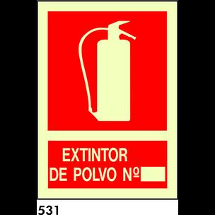 SEÑAL PVC FOTO A4 R-531 - .EXTINTOR POLVO.