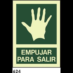 SEÑAL PVC FOTO A4 R-624 - .EMPUJAR PARA SALIR.