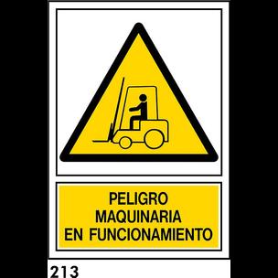 SEÑAL PVC NORM. A4 CAT. R-213 - MAQUINARIA EN FUNC